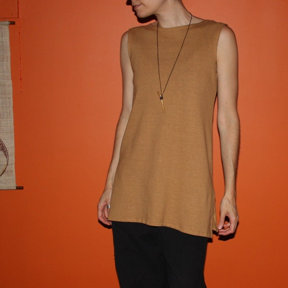 sleeveless tunic - hemp and organic cotton - hand dyed in bronze - small