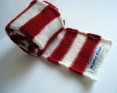 Sailor Stripe Scarf - Red & White - Felted Merino Lambswool
