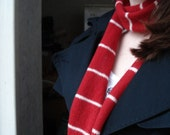 Stylish Skinny Scarf in Red and White - Felted Merino Lambswool