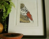 Relief Print - THE RED FLUTE - Garden Gnome Print - Ready to Ship
