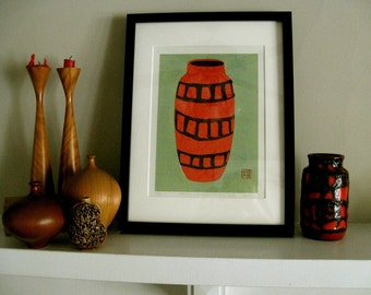 Collograph Print - German Modernist Studio Vase - Fat Lava Vase Print 9x13 - LAST PRINT AVAILABLE - Ready to Ship