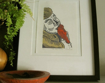 Lino Print - THE RED FLUTE - Garden Gnome Print - Ready to Ship