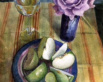 Apples Wine Rose Still Life Painting Original Framed Art Watercolor Floral Belinda DelPesco
