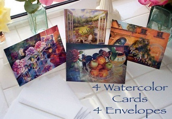 Blank Art Card Set - Four Watercolor Paintings Floral Still Life Landscape with envelopes DelPesco
