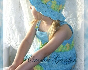 Blossoming Beauty Sundress TODDLER Crochet Pattern Sizes 12 mos, 18-24 mos, 2T, 3T