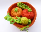 Felted bowl with wool veggies