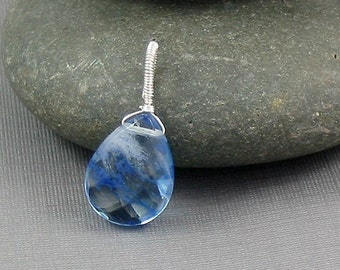 Wire wrapped pendant -Sterling Silver and Blueberry Quartz Pendant