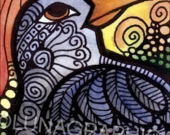 Crow Art - Bird Themed Design - ACEO / Art Card Home Decor Print by Artist Cindy Couling