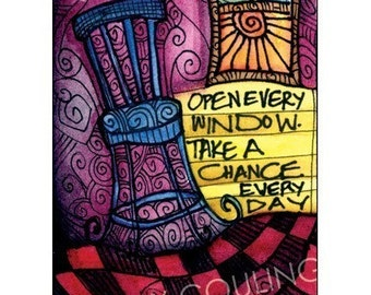 Gift for Artist - Open Every Window - Inspirational and Encouraging - ACEO /Artist Trading Card PRINT by Cindy Couling