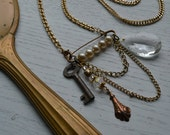 Vintage Assemblage Necklace, Antique Key, Chandelier Crystal, Salvaged Pearl Pin, Recycled Chain
