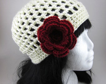 Lacy Beanie with Large Flower Clip - Women Crochet Hat - Ivory Hat