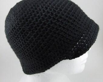 Brimmed Beanie - Adult Black Crochet Beanie with Brim