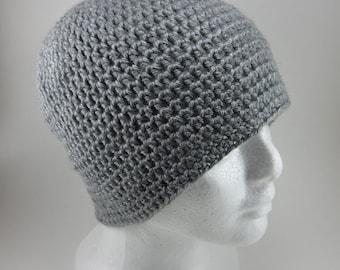 Grey Beanie - Unisex Adult Crocheted Beanie Hat