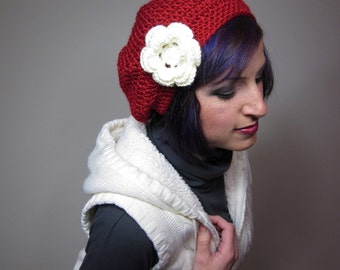 Slouchy Crocheted Hat with Large Flower Clip Red - Womens Crochet Slouch Hat