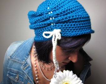 The Victorian Slouch Hat in Teal - Womens Crochet Hat