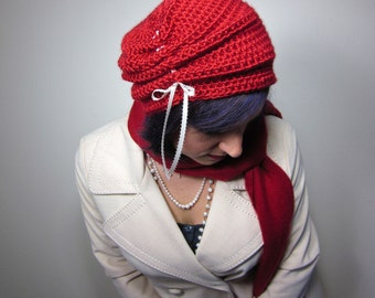 The Victorian Slouch Hat in Red - Womens Crocheted Hat