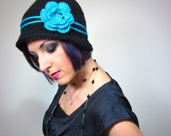 The Love Hat - Black and Teal Womens Crocheted Cloche with flower clip