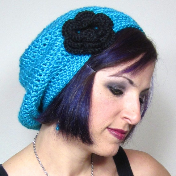 Slouchy Crocheted Hat with Large Flower Clip Teal - Womens Crochet Hat