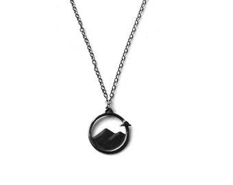 Circle Mountain Necklace in Dark Grey Patina Finish