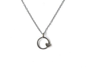 BLACK HEART Circle Heart Necklace with Dark Grey Finish- Ready To Ship!!