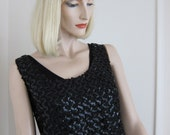 50s Black Sparkly Sequins Top - Hollywood Glam Sequins Vintage Tank - Bombshell 1950s Holiday Glamour - Small