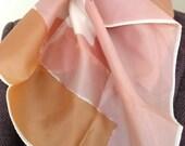 70s Vera Scarf Vintage - Abstract Mod Minimalist - Vera Neumann - Pastels - Peach Pink Taupe - Japan