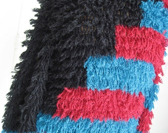 80s Muppet Shag Clovis Ruffin Fuzzy Sweater Oversize Fuzz Vintage Knit Color Block - Red & Blue - Black - Designer Zig Zags - Small S