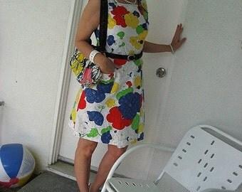 70s Floral Poppies Dress - Vintage Cotton Sundress - Pique - Bright Multi Colors - M