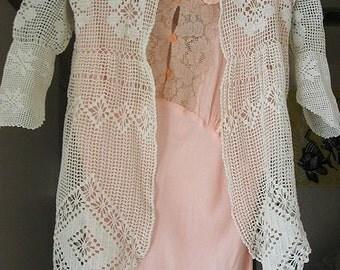 Edwardian Snowflake Lace Childs Jacket - Antique Filet Crochet Matinee Coat - Diamond Point Hem