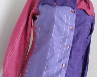 70 Rodeo Cowgirl Adelaar Western Shirt - Authentic Vintage Purple Lavender & Pink Color Block Stripe - Ranch in Santa Barbara - M L