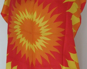 60s Vera Sun Rays Silk Scarf Vintage - Ladybug Vera Neumann - Bold Leo Solar Symbology - Large