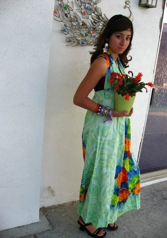70s Boho Beach Dress - Vintage Hawaiian Halter Maxi Dress - Mint Roses - Sea Green Blue Floral - NOS Medium