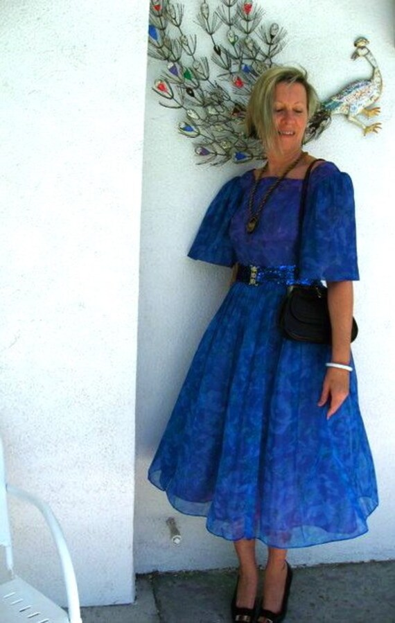 50s Blue Violet Tea Dress Vintage - Watercolor Sheer Floral Tea Length 1950s - Prom Party - B 36