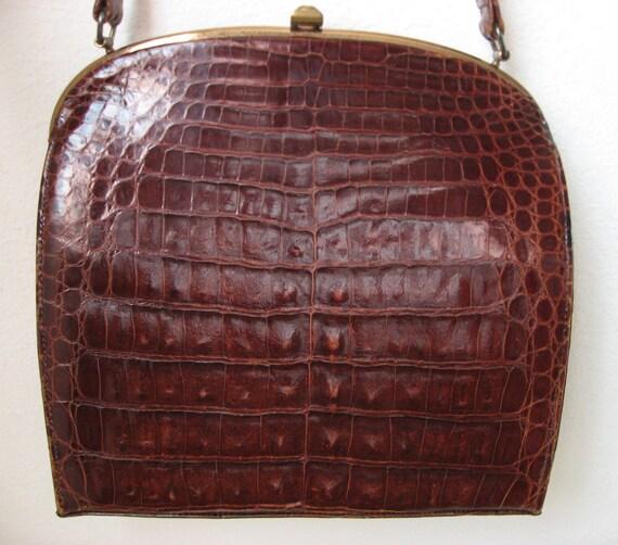 40s Deitsch Crocodile Frame Purse Vintage - Oxblood Brown - Exotic Forties Croc Bag - 1940s Handbag