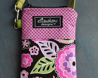 Padded Gadget Pouch iphone 5 cellphone flip camera blackberry ipod- Boho Blossoms