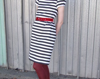 Jailhouse Rock dress in black and white stripes