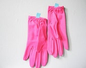 Neon pink vintage gloves - Mad Men fashion costume hot bright pink