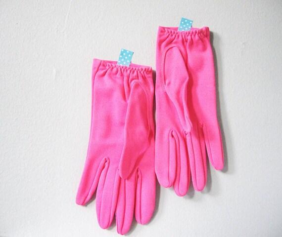 Neon pink vintage gloves - Mad Men fashion costume hot bright pink