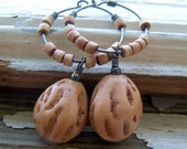 Black Walnut Hoop Earrings - vintage Lucite nut beads, wooden beads, nature-inspired - Woodland Fashion - boho chic
