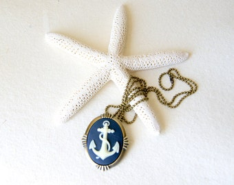 Anchor Necklace - ivory and navy blue  - anchor brooch - nautical fashion - Anchor Jewelry