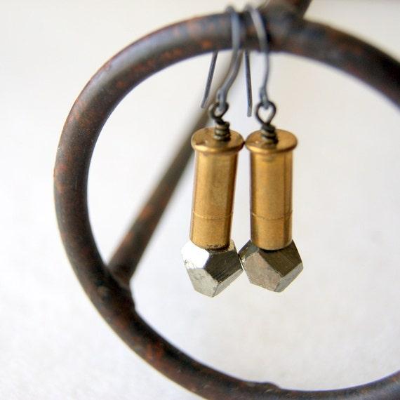 Bullet Earrings - brass bullet shells - pyrite earrings - Fools Gold - Bullet Jewelry - gift under 25