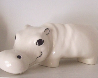 Ceramic Hippo Garden Planter Vintage Design White Flower Pot Plant Container