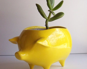 Ceramic Pig Planter Vintage Design in Lemon Yellow Succulent Planter Retro Sponge Holder Home Decor