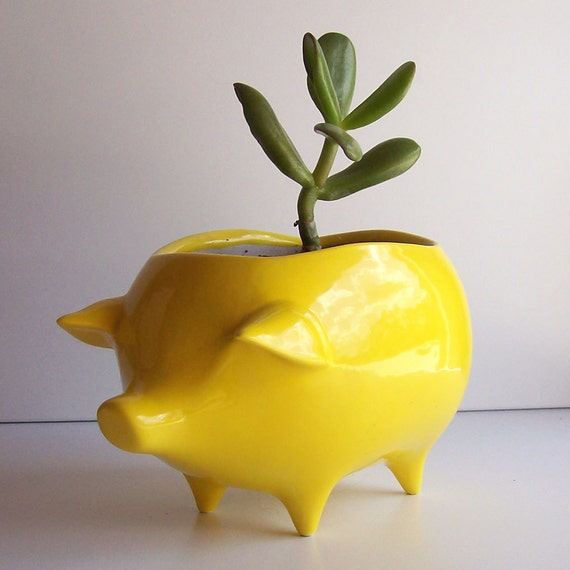 Ceramic Pig Planter Vintage Design in Lemon Yellow Succulent Planter Retro Sponge Holder Kitchen Home Decor Garden