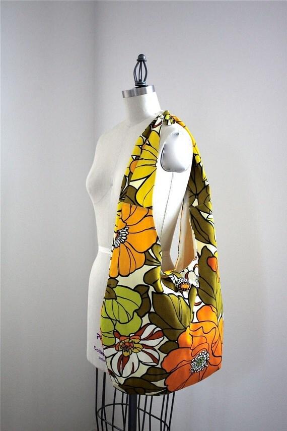 Sling Boho Bag Adjustable Messenger Sling Bag or Shoulder Bag Rare Vintage 1970's Fabric off of the Bolt