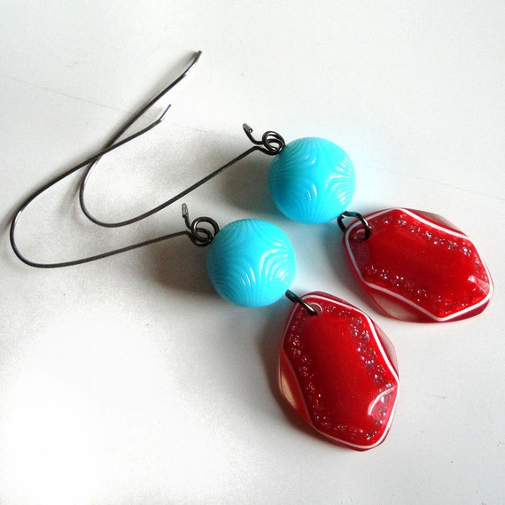 Aqua and Cherry Red Glitter Earrings - Aqua Blue Swirly Starburst Beads with Red and Silver Sparkle Charms