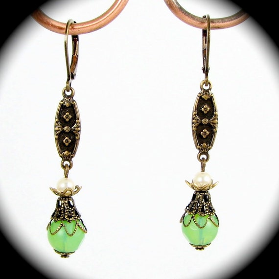 Exquisite Neo Victorian Drop Earrings with Jadite Cream Swarovski Pearls and Brass Filigree