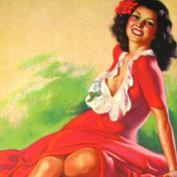 RARE Mutoscope Card Pin Up UNKNOWN ARTIST - Sitting Pretty - Circa 1945