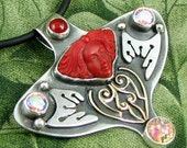 REDEMPTION Sterling Pendant with frosted glass face, carnelian, mars moon cz, harlequin glass and brass filigree