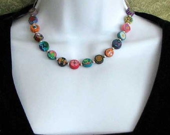 Polymer Clay PICTURE BEAD and All Sterling 16 inch NECKLACE